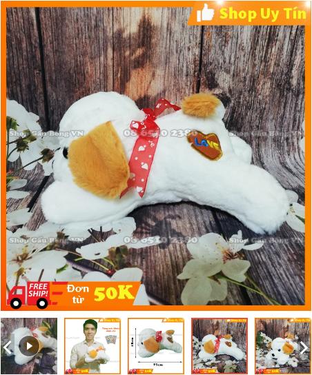 gấu bông chó trắng mini