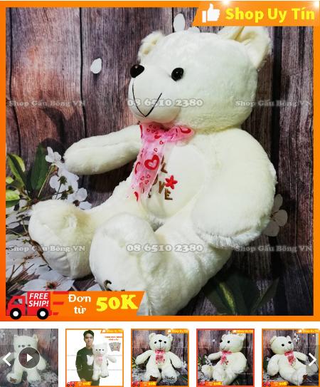 gấu bông teddy trắng