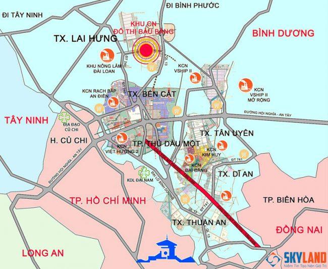 bản đồ đến khu đô thị bàu bàng