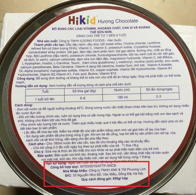 thông tin về sữa hikid