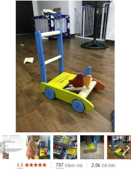 xe gỗ tập đi cho bé