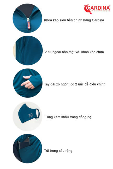 đặc điểm áo chống năng cardina